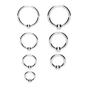 Steel BCR Ball Closure Captive Ring Lip Nose Ear Tragus Septum Ring 316 Steel