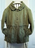 Small Abercrombie Fitch Green Trench Coat Girl Soft Olive Jacket Pocket Collar S