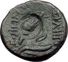 PERGAMON MYSIA - OWL COUNTERMARK - Asclepius Omphalos Ancient Greek Coin i60771