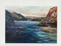 Large Original Oil Painting Elan Valley Wales landscape colourful Art Canvas