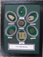 Matted Set Of 7 Identified Excavated Civil War Relics W/Dug Period Coin - (New)
