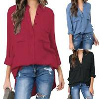 Plus Size Women Solid Loose Blouse Tunic Casual V Neck Long Sleeve T Shirt Tops