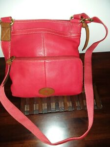 Fossil red leather crossbody bag excellent condition