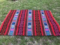 Native American Aztec Pendleton Style Patterned Large Blanket Multicolor Design