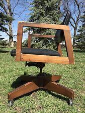 Vintage Dining Office Mid Century Danish Modern Chair Wood Brass Swivel Clam