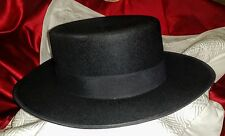 FERQUIN Fermin Yustas BOLERO Gaucho BLACK HAT Wool Felt VINTAGE 1970s MADRID 58