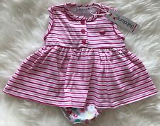Babaluno By Minoti Baby Girls Pink Striped Summer Dress Knickers Size 3-6 Months
