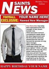 A5 Personalised Southampton  Football Manager News PIDH1 Greeting Birthday