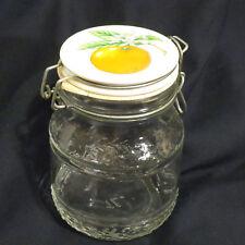 VTG Clear Storage Jar Container Orange Fruit Ceramic Wire Bail Swing Top Lid