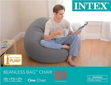 Intex Inflatable Lounge Beanless Lounger Bag Chair - Grey | 68579EP