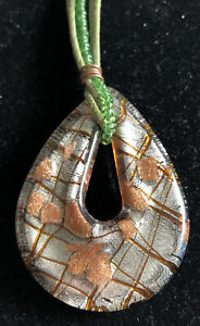 Hand blown glass necklace pendant