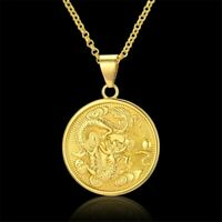 18k Yellow Gold Stylish Chain Link Mens Womens Necklace And Dragon Pendant D674B