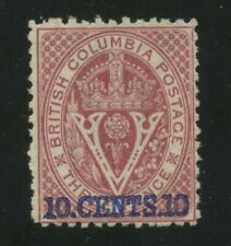 British Columbia Seal 1869 10c on 3d lilac rose Perf 12.5 #15 VF Mint no gum