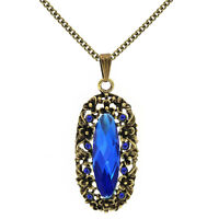 Dark Royal Blue Crystal Stone /& Silver Chain Butterfly Pendant Necklace N101
