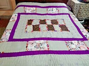 Grey-Purple Quilted Bed Spread hand made