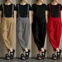 Women Rompers Harem Pants Strappy Bib Jumpsuit Overalls Playsuit Trousers Loose