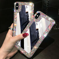 Girls Luxury Bling Rhinestone Mirror Makeup TPU back Case Phone cover For Huawei