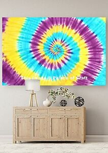 Spiral Tie Dye Wall Hanging Tapestry Yoga Mat Indian Handmade Cotton Table Cloth