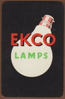Playing Cards 1 Single Card Old Vintage EKCO LAMPS Lightbulb Advertising Art