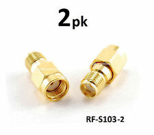 2-PACK RP-SMA (Reverse Polarity) Male to SMA Female Gold Adapter, RF-S103-2