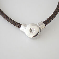 Snap It Brown Braided Leather Necklace For Snap it Button Charms