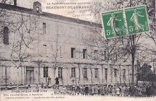 BEAUMONT-DE-LOMAGNE école laïque de fille photo lang timbrée 1913