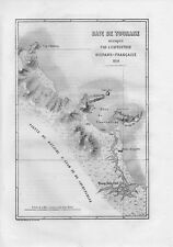 Carta geografica antica TOURANE oggi DA NANG Vietnam 1861 Old map
