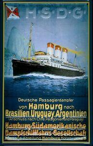 Dampfschiff Hamburg Brasilien Blechschild Schild 3D Tin Sign 20 x 30 cm B326