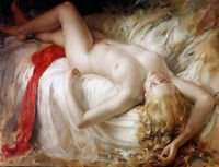 CHENPAT784 hand paint lie in bed long hair nude lady oil painting art on canvas