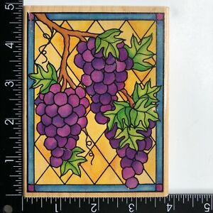 Rubber Stampede Stained Glass Large Grapes A1241G Wood Mounted Rubber Stamp
