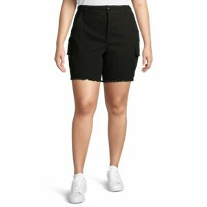 Terra & Sky Women's Utility Shorts with Frayed Hem Plus Size 20W Black