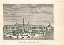 Le Garde-Meuble & ministère de la marine place de la Concorde Paris GRAVURE 1883