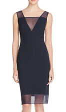 AIDAN MATTOX ~ Navy Crepe Illusion V-Neck Sheath Cocktail Dress 8 NEW $275