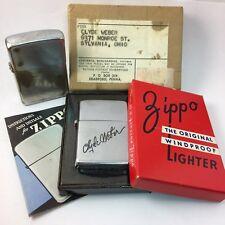2032695 3 Barrel Zippo Lot In Box - Nickel Silver Inserts Engraving HTF Rare