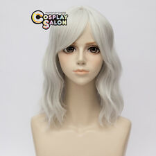 35CM Lolita Silver White Medium Curly Women Party Cosplay Wig Heat Resistant