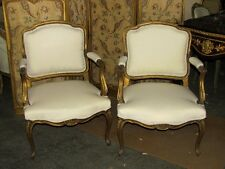 19th C. Pair of French Louis XV Gilded Fauteuil Arm Chairs