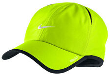 New Nike Feather Light Cap Hat Dri Fit Running Tennis  595510-720 Volt / Black