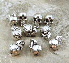 Set of 10 Pewter 5.5 mm SKULL BEADS with Vertical Hole - 1451