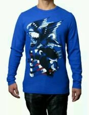 NWTS Men's ED HARDY Long Sleeve Thermal Shirt Force Fear Blue Small