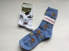 2 PAIRS LADIES  NOVELTY SOCKS * BEST IN SHOW DOG AND MONKIES * BLUE/WHITE