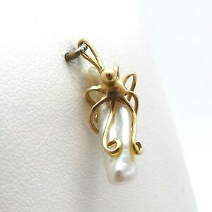 14k Gold Octopus Hugging Baroque Pearl Elongated Custom Handmade Charm Pendant