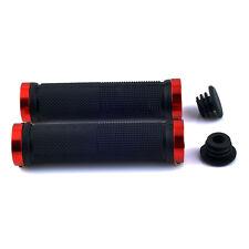 DOUBLE LOCK ON LOCKING BMX MTB MOUNTAIN BIKE CYCLE HANDLE BAR GRIPS Black red N3