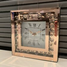 crushed jewel mirror MANTLE TABLE clock Floating diamante Rose Copper Clock 15cm