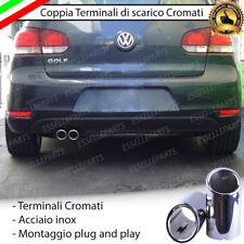 COPPIA TERMINALE SCARICO CROMATO LUCIDO ACCAIO INOX VW GOLF 6 VI SCARICO DOPPIO