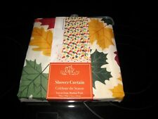 """Celebrate The Season Shower Curtain """"Tossed Leaves"""" 70 In. X 72 In. New!"""