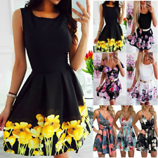 Womens Short Floral Sleeveless High Waist Swing Dress A-Line Mini Sundress Party