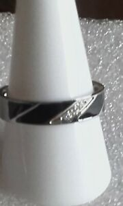 New stainless steel wide enamelled & sparkly glass band ring sz S - S 1/2