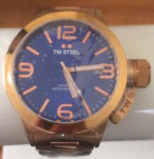 TW Steel - Canteen - Mens Rose Gold Tone 45mm Quartz Watch Blue Dial CB181