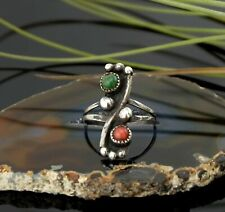 Vtg Sterling Silver Old Navajo Red Coral & Green Turquoise Ring sz 6