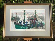 Boats Print Painting Noel Ellis Dieppe Trawlers